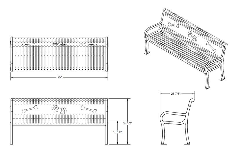standard park bench dimensions the