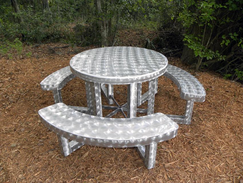 42 Quot Round Aluminum Picnic Table Commercial Picnic Tables