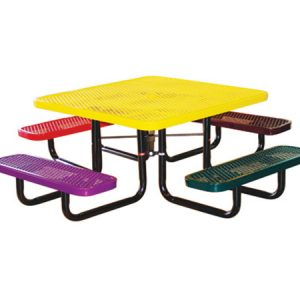 46in. Square Expanded Metal Childrens Picnic Table