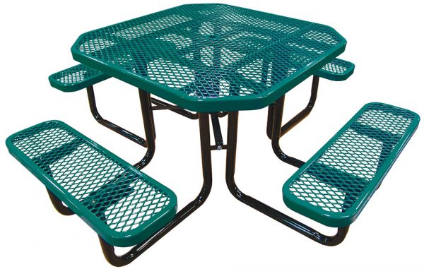 46in. Octagonal Expanded Metal Picnic Table