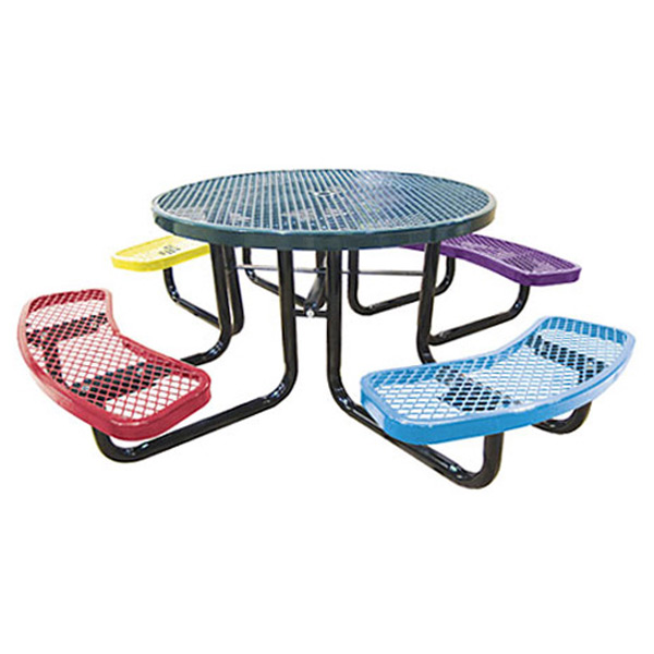 46in. Round Expanded Metal Children's Picnic Table_1