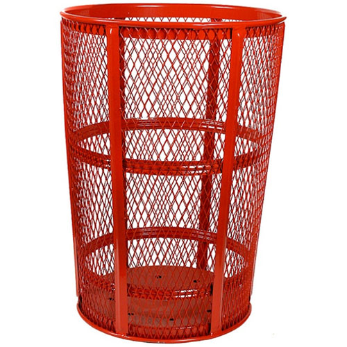 48 Gallon Expanded Metal Receptacle Red