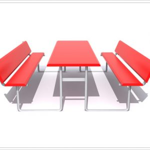 Rectangular Picnic Table with Back