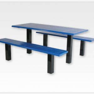 "Straight Post Picnic Table with 4"" Square Tubing"