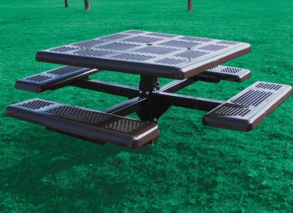 Perforated Style Square Pedestal Picnic Table
