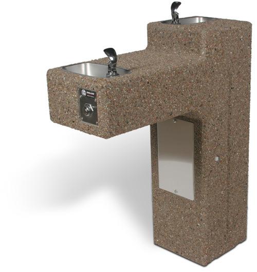DF-Dual – ADA Accessible Bi-Level Concrete Drinking Fountain