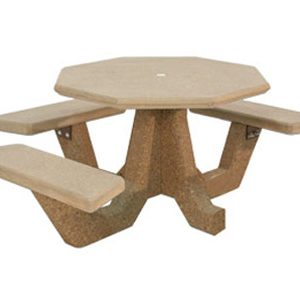 "ADA Accessible 40"" Octagon Concrete Picnic Table"