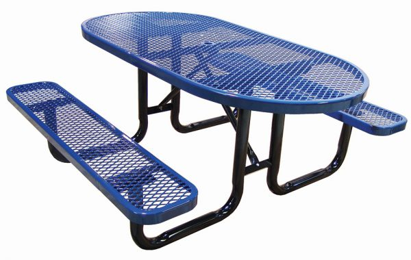 6ft. Oval Expanded Metal Picnic Table
