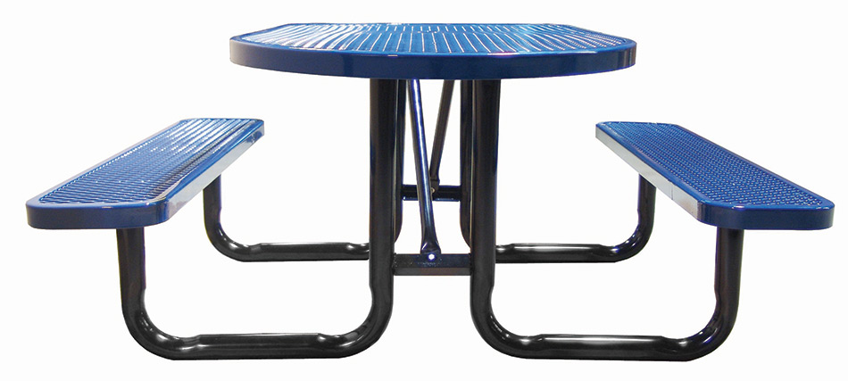 Metal Covered Tables : Ft oval expanded metal picnic table plastic coated