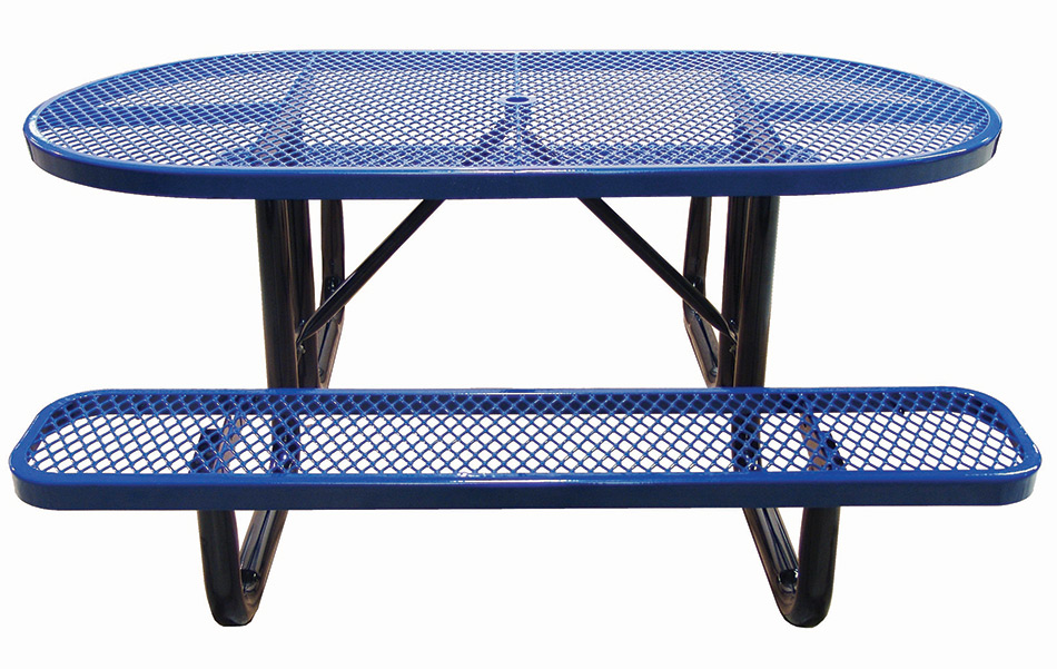 6ft Oval Expanded Metal Picnic Table Plastic Coated