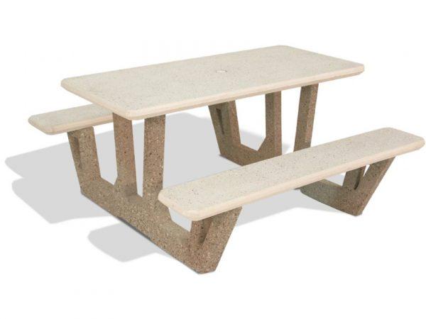 "58"" Rectangular Concrete Picnic Table"