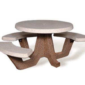 "ADA Accessible 42"" Round Concrete Picnic Table"