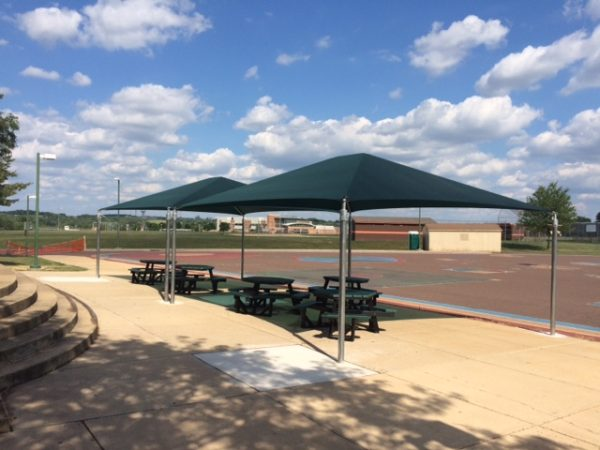 hex tables and shade structure