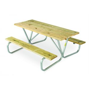 Bolted Frame Wood Picnic Table