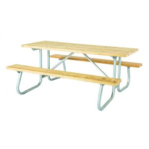 Welded Frame Wood Picnic Table