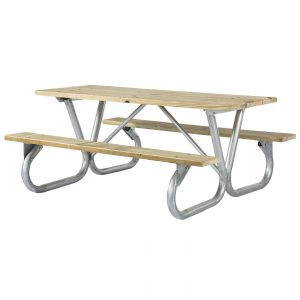 Extra Heavy Duty Bolted Frame Wood Picnic Table