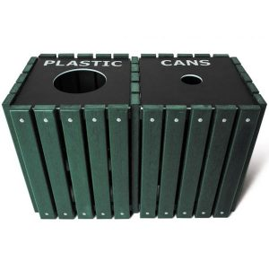 Double Square Recycled Trash Receptacle