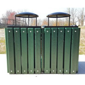 Double Square Recycled Trash Receptacle Rain Bonnet Top