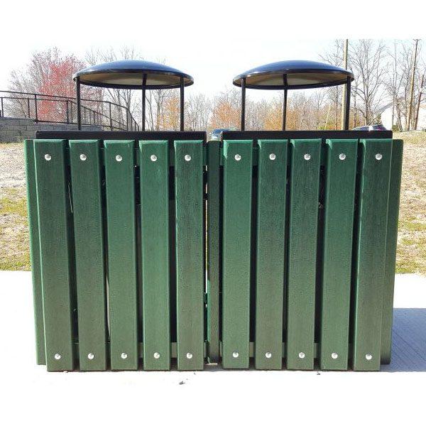 Double Square Recycled Trash Receptacle Rain Bonnet Top
