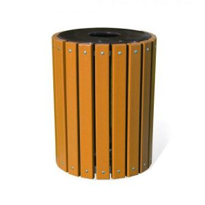 Round Slat Recycled Trash Receptacle
