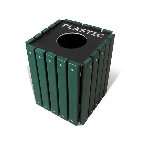 Single Square Recycled Trash Receptacle