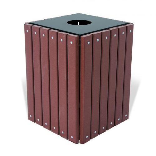 Square Recycled Trash Receptacle