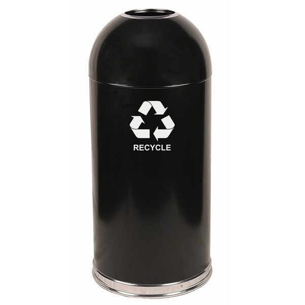 Dome Top Recycling Containers black