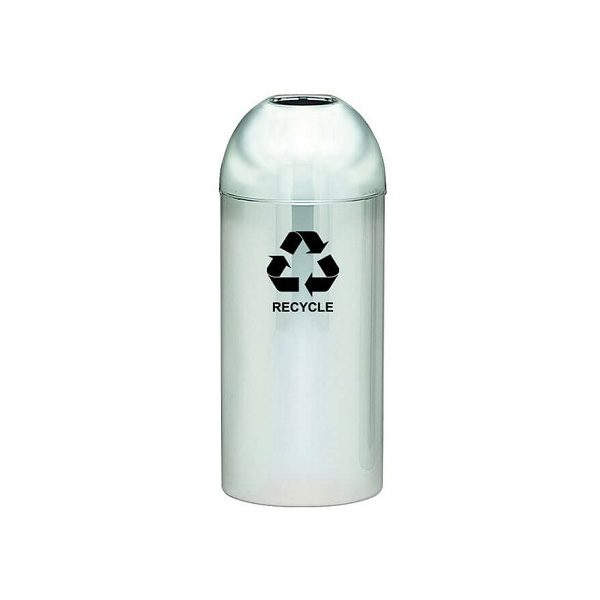 Dome Top Recycling Containers polished metal