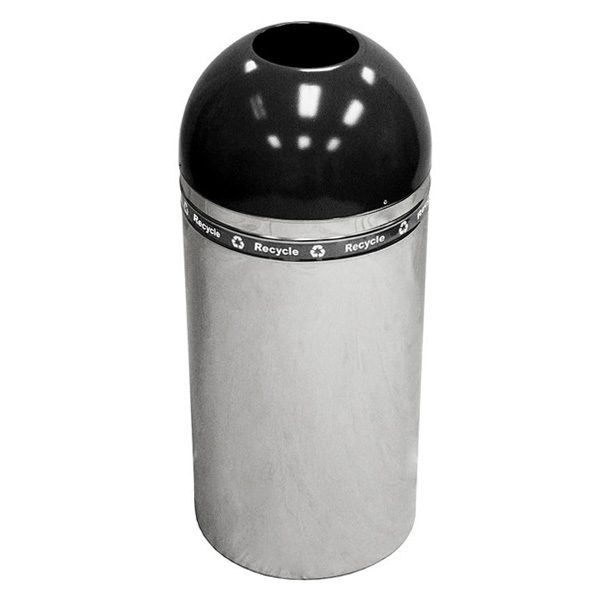 Dome Top Recycling Containers polished metal black
