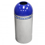 Dome Top Recycling Containers polished metal blue