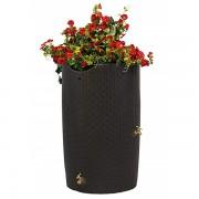 impressions bali 50 gallon rain barrel dark brown flowers
