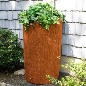 impressions bark 50 gallon rain barrel