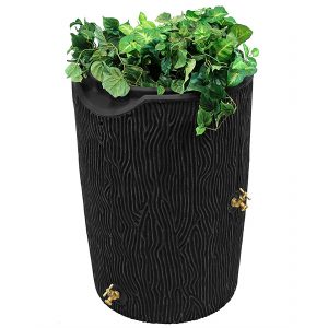 impressions bark 50 gallon rain barrel black
