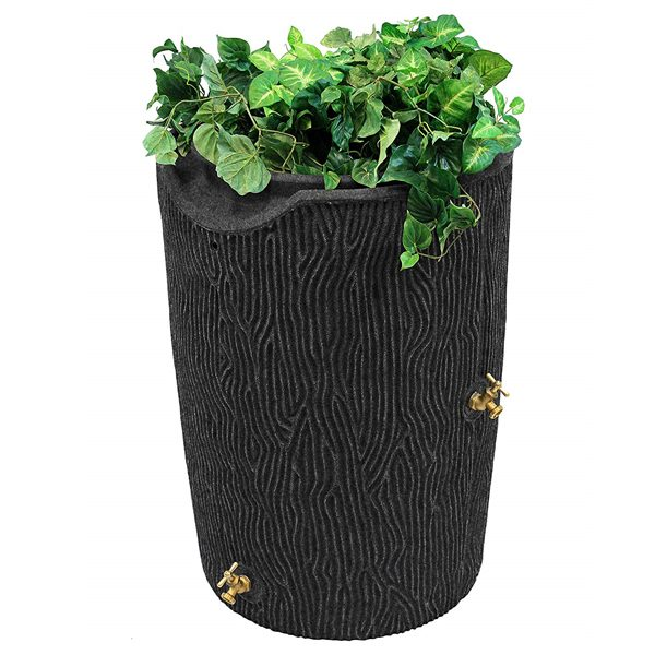 impressions bark 50 gallon rain barrel dark granite