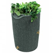 impressions bark 50 gallon rain barrel gray