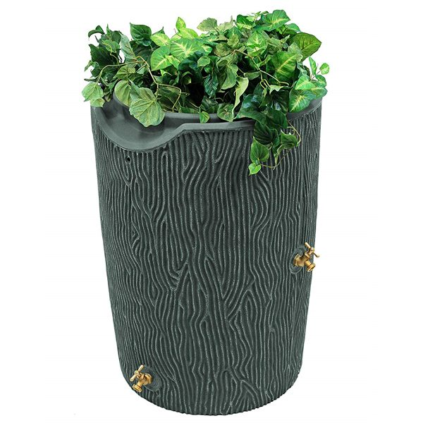 impressions bark 50 gallon rain barrel gray