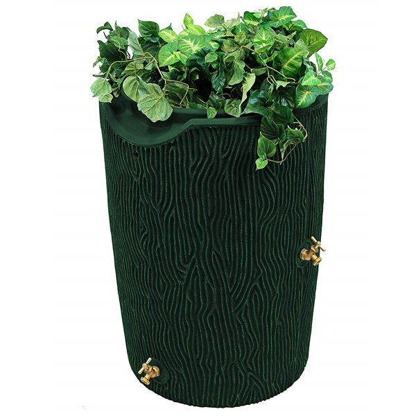 impressions bark 50 gallon rain barrel green