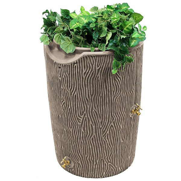 impressions bark 50 gallon rain barrel khaki