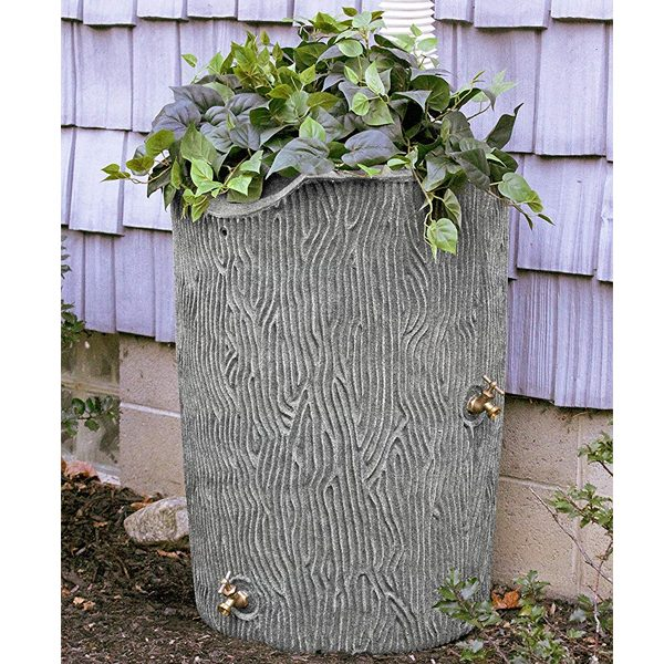 impressions bark 50 gallon rain barrel lite granite