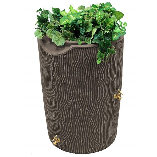 impressions bark 50 gallon rain barrel oak