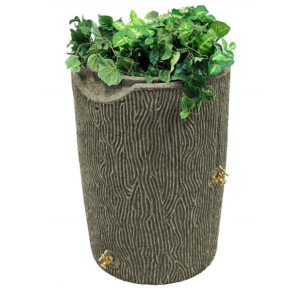 impressions bark 50 gallon rain barrel sandstone