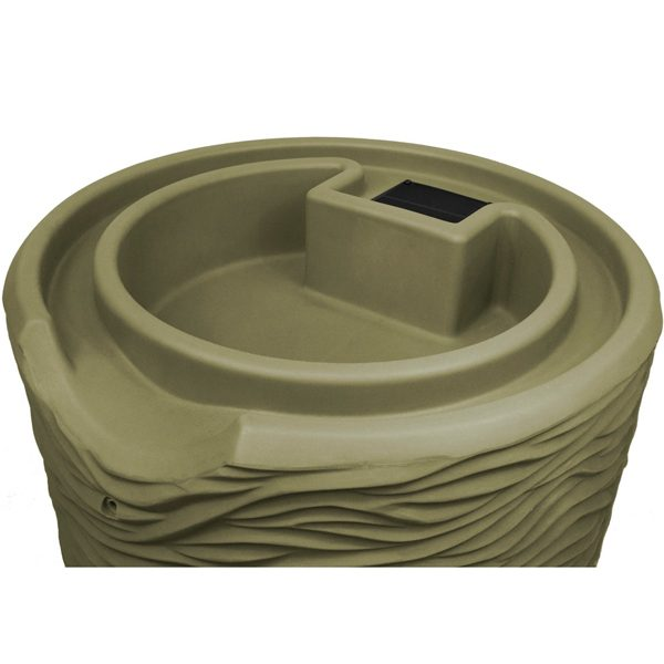 Impressions Palm 50 Gallon Rain Barrel top khaki