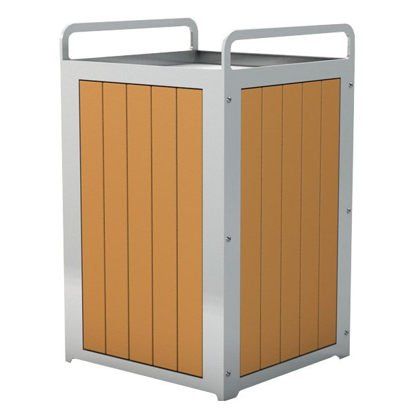 Plaza Recycled Plastic Trash Receptacle Cedar