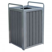 Plaza Recycled Plastic Trash Receptacle gray
