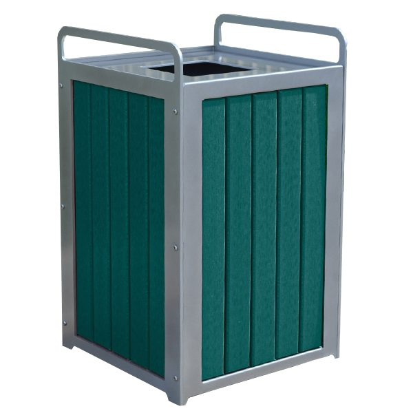 Plaza Recycled Plastic Trash Receptacle Green
