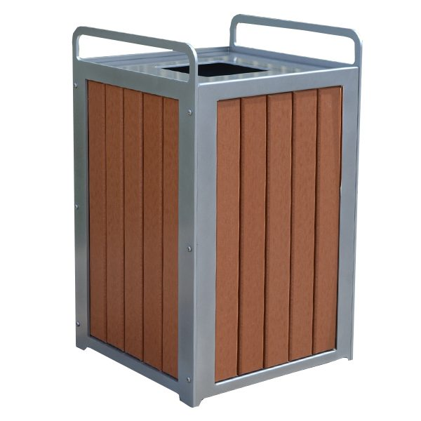 Plaza Recycled Plastic Trash Receptacle Redwood