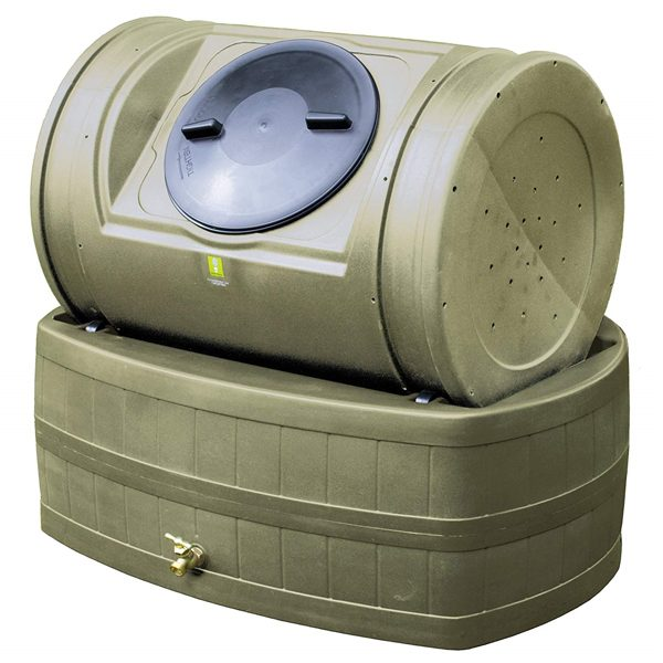 Compost Wizard Hybrid Composter & Rain Barrel Kit Khaki