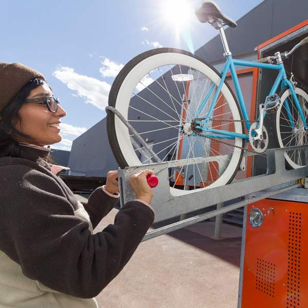 two-tier bike locker lift assist tray