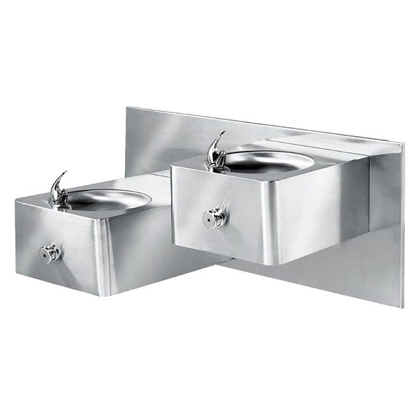 Dual Level Push Button Stainless Steel Drinking Fountain
