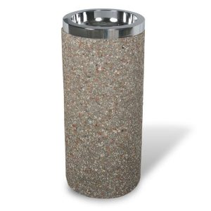 Round Concrete Ash Urn with Chrome Tray